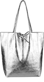 OBC Made in Italy Damen Leder Tasche XXL DIN-A4 Shopper Tote Hobo Bag Henkeltasche Handtasche Umhängetasche Ledertasche Sc...