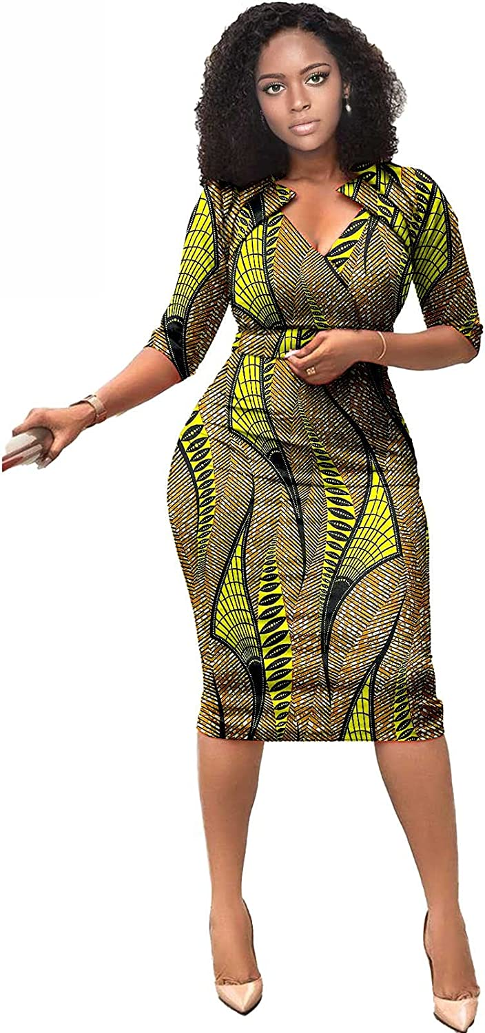 RealWax African Dresses for Women African Attire Women Elegent Outfits V-Neck Plus Size Slim Bodycon Dress