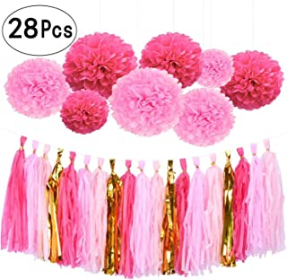 28Ct Hot Pink Gold Tissue Hanging Paper Decorations Kit Flamingo Wedding Favors Fuchsia Tissue Paper Pom-Poms Balls Tassel Hangings Garlands Baby Shower Party Decorations