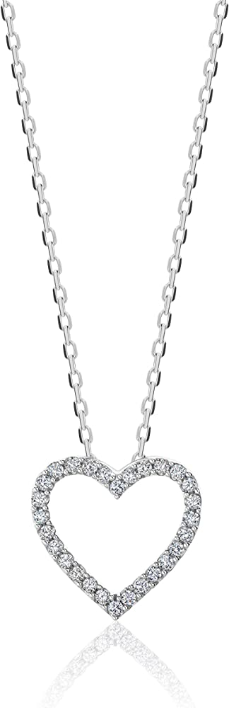 Orovi, collana con ciondolo a forma di,in oro bianco 9 kt(1,3 gr), cuore con diamanti taglio brillante ct 0.10 OR72109N