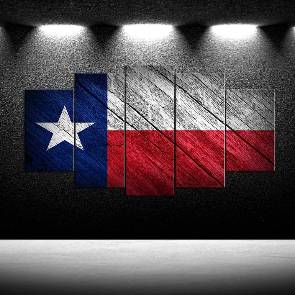iKNOW FOTO Large 5 Panel Canvas Prints Texas State Flag Wall Art Decor Modern Multi Panel Split Prints Rustic Wood Look for Dining Living Room Kitchen Bedroom Office Walls Decoration
