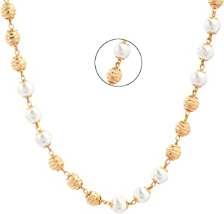 Three Shades Gold Plated & Pearl Chain for Women