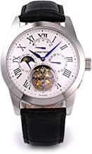 JOHNNYROGER メンズ 男性用 腕時計 時計 本物保証 腕時計の最高峰 フライングトゥールビヨン パワーリザーブ搭載 カレンダー付き 本格 機械式 手巻き ステンレスケース 革ベルト 正規品 Tourbillon Roi Blue