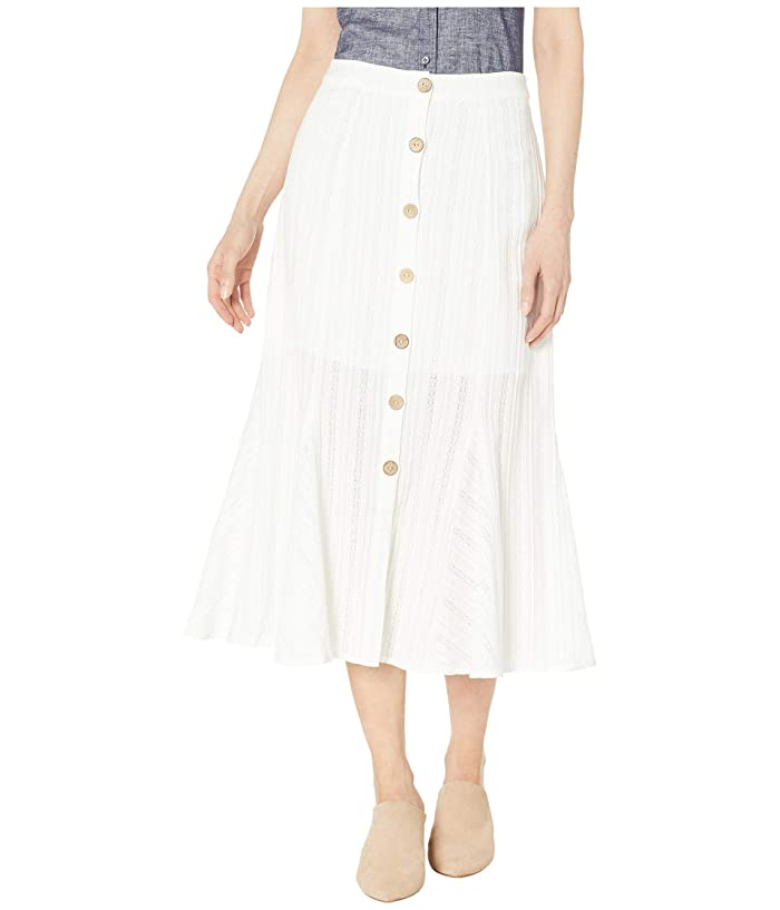 Miss Me Off-White Button Flare Midi Skirt