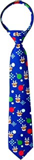 Spring Notion Boy's Printed Microfiber Christmas Theme Pretied Zipper Tie, Small Rudolph and Friends