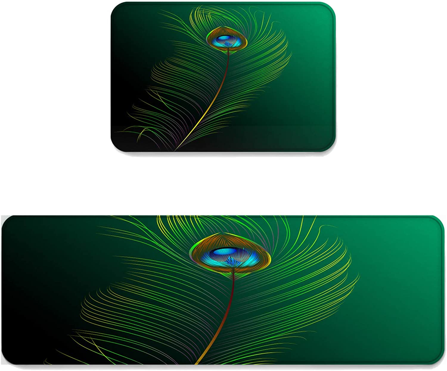 Fantasy Star Kitchen Rug Sets 2 Piece Floor Mats Non-Slip Rubber Backing Area Rugs Peacock Feather Doormat Washable Carpet Inside Door Mat Pad Sets (19.7  x 31.5 +19.7  x 47.2 )
