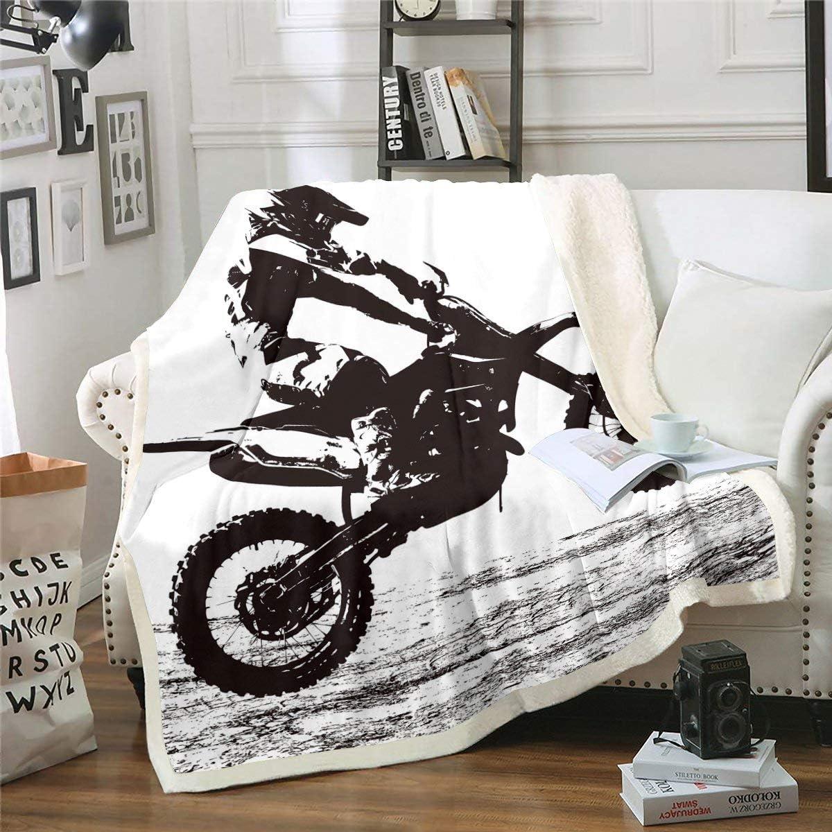 Erosebridal discount Teens Special Campaign Dirt Bike Sherpa Blanket Motocross Rider Thro