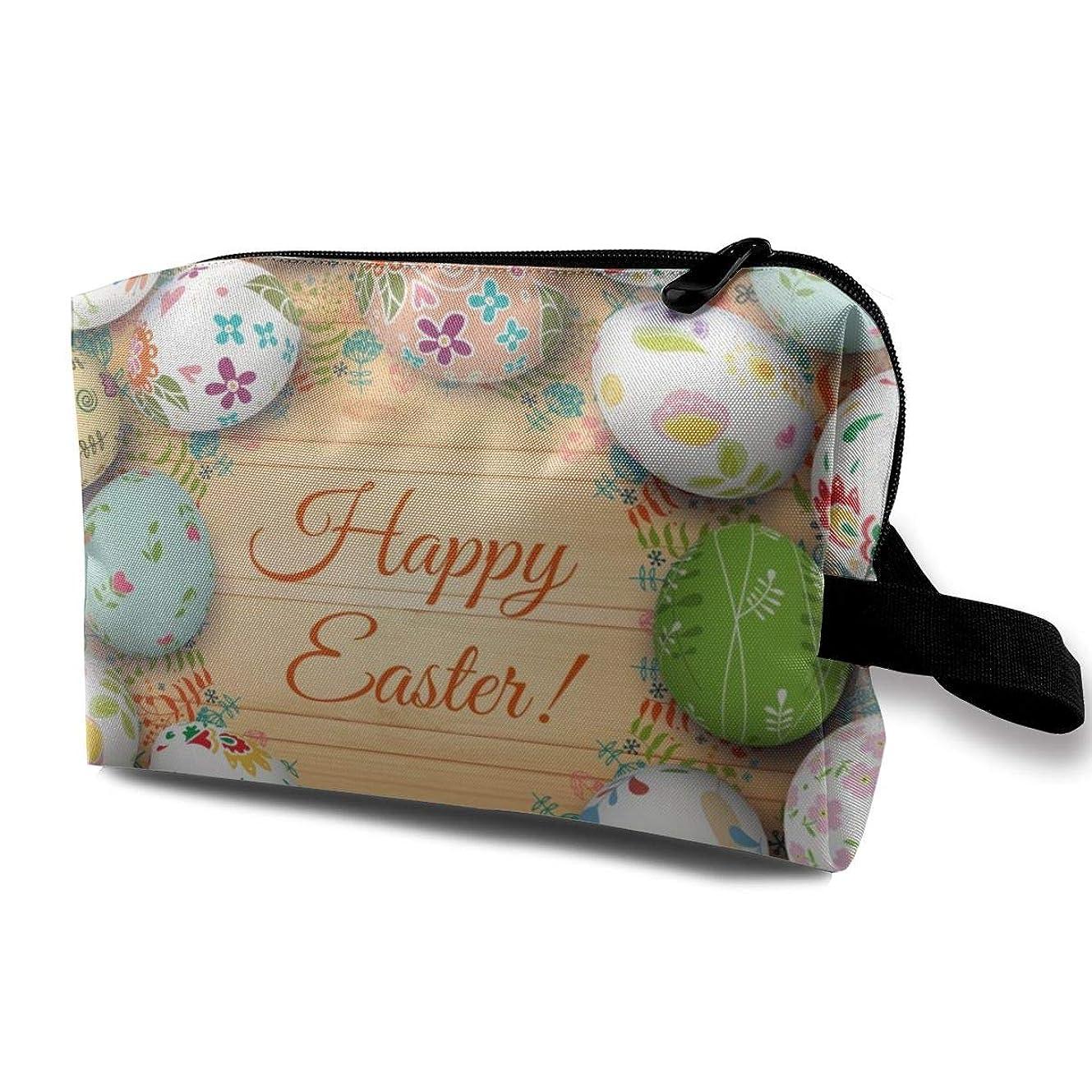グロー羊の服を着た狼禁輸Easter Card And Eggs 収納ポーチ 化粧ポーチ 大容量 軽量 耐久性 ハンドル付持ち運び便利。入れ 自宅?出張?旅行?アウトドア撮影などに対応。メンズ レディース トラベルグッズ
