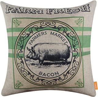 LINKWELL Farmhouse Pillow Cover 18x18 inch Decorative Cushion Case Accent Home Decoration Vintage Green Farm Fresh Pig CC1648