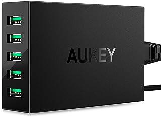 AUKEY USB充電器 50W/10A ACアダプター 5ポート スマホ充電器 携帯急速充電 AiPower搭載 Apple 新型 iPad Pro/iPhone X/iPhone 8 / iPhone 7 / 7 Plus/iPod/Xpe...