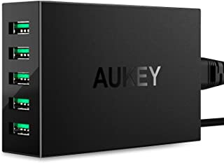 AUKEY USB充電器 50W/10A ACアダプター 5ポート スマホ充電器 携帯急速充電 AiPower搭載 Apple 新型 iPad Pro/iPhone X/iPhone 8 / iPhone 7 / 7 Plus/iPod/Xperia/Nexus/Galaxy等対応 (ブラック)PA-U33【PSE認証済み】