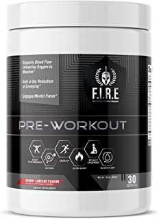 F.I.R.E Keto Friendly Mesomorph Amino Energy Pre-Workout Supplement with Natural Ingredients for Sharp Focus, Intense Pumps, Long Lasting Energy, Low Carb with Beta Alanine 30 Cherry Limade Servings