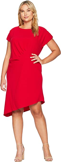 Plus Size Short Sleeve Crepe Sheath with Side Ruching