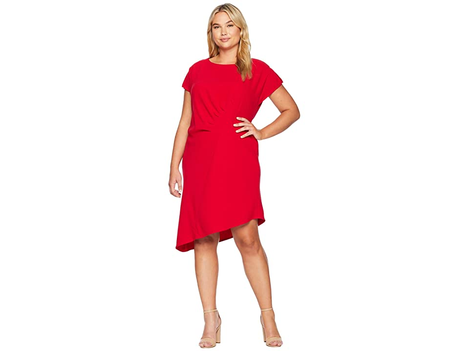 Tahari by ASL Plus Size Short Sleeve Crepe Sheath with Side Ruching (Red) Women