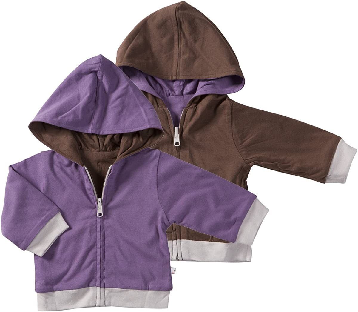 Babysoy Year Round Reversible Hoodie (0-6 Months, Eggplant)