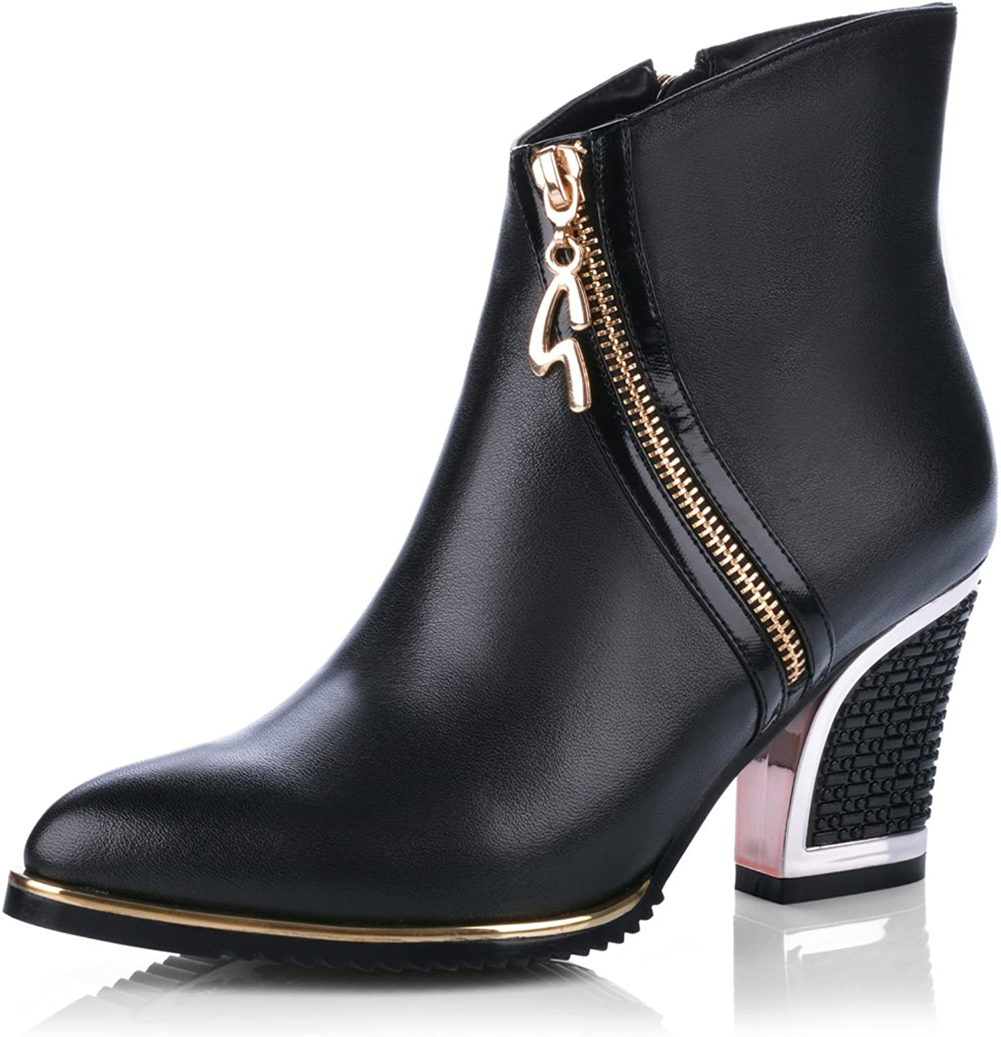 Nine Seven Women's Genuine Leather Chunky Heel Round Toe Black Ankle Boot with Metal Decoration