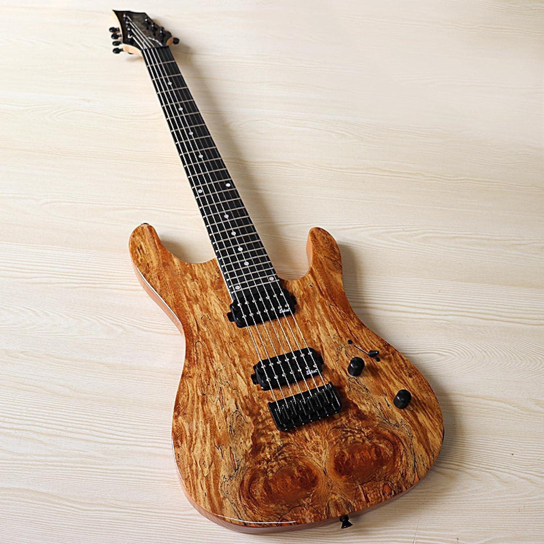 KEPOHK Guitarra eléctrica de 39 pulgadas, tapa de madera de mapa de 7 cuerdas con pastilla hecha en Corea, 1 pieza, mástil de madera de arce de Canadá, solo guitarra de 39 pulgadas
