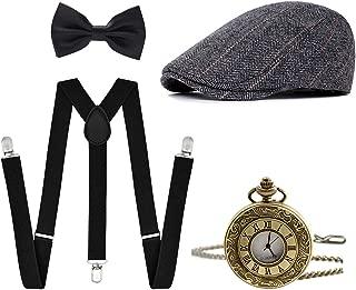 Men's 1920s Accessories Gatsby Gangster Costume Set Gangster Beret Y-Back Suspender