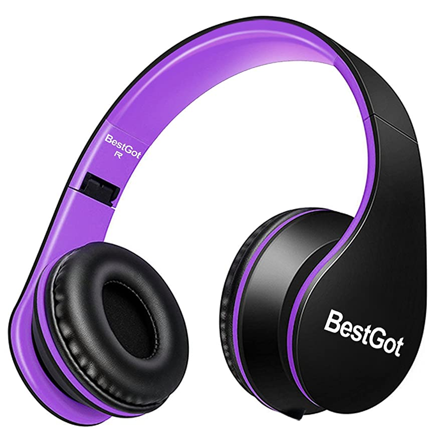 BestGot Headphones with Microphone for Girls Kids Adult in-line Volume Included Transport Bag Foldable Headset with 3.5mm Plug Removable Cord (Black/Purple)