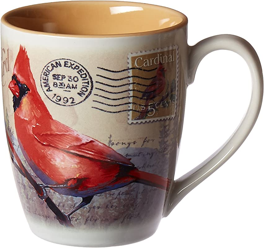 Vintage Bird Series 14oz Stoneware Coffee Mug Northern Cardinal Postcard