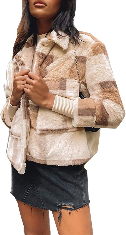 Women'S Fashionable Fleece High quality Easy-to-use Plaid Classic Coat Warm Winter