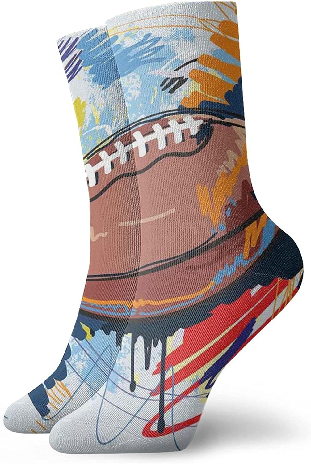 Compression High Socks-Diamond Shape Rugby Ball Sketch With Colorful Doodles Professional Equipment League Best for Running,Athletic,Hiking,Travel,Flight