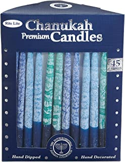 Rite-Lite Judaica Hand-Dipped Shades of Blue 5 3/4-Inch Chanukah Candles, Box of 45