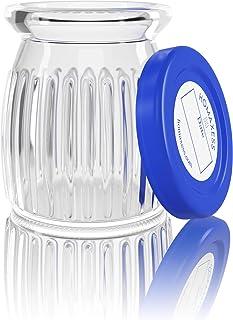Homaxess | 6 Pots Yaourt en Verre | Compatible Toute Yaourtiere | Couvercle à Dater | Capacité 150 ML | BPA free | Packagi...
