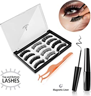 Magnetic Eyelashes with Eyeliner, JDO Upgraded 3D Magnetic Eyelashes and Eyeliner, Reusable Fake Lashes No Irritation No Allergy 3 Styles Lashes with Applicator for Party Dating Wedding (12 PCS)