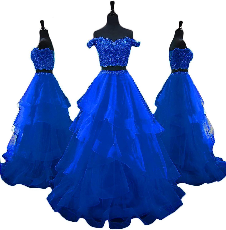 CCBubble 2 Piece Prom Dresses 2018 Off The Shoulder Lace Prom Dress