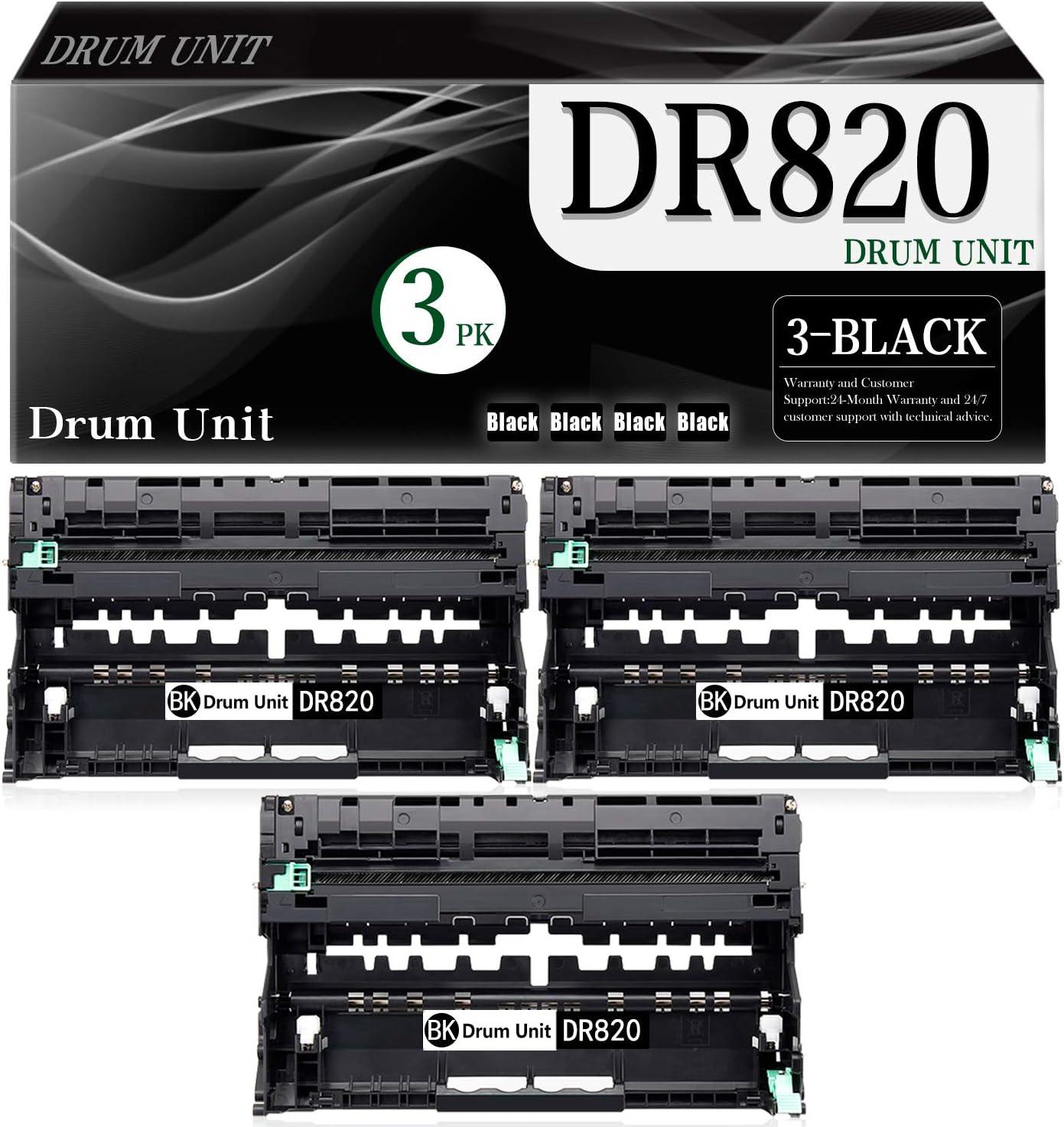 3-Pack (Black) DR820 Compatible Drum Unit Replacement for Brother DCP-L5500DN L5600DN L5650DN MFC-L6700DW L5700DW L5800DW L5900DW L6800DW L6900DW HL-L6200DW L6300DW L5000D L5200DW Printer
