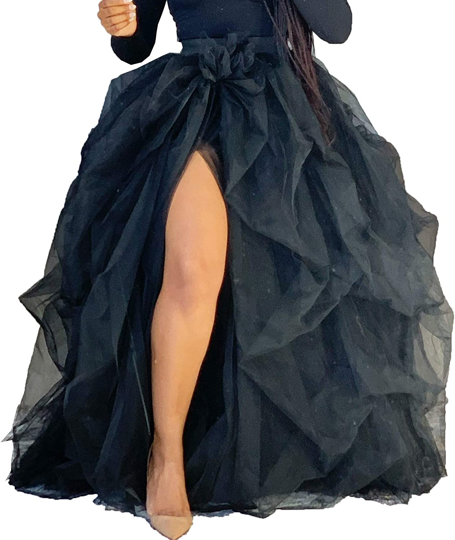 Women's Hi Split Skirt High Waisted Lace Ruched Tulle Skirt Solid Color Mesh Floor Length Evening Maxi Skirt