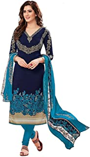 TreegoArt Fashion Women's Casual Wear Indian Crepe Printed Unstitched Dress Material -(Free Size) Navy