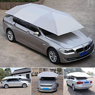 Super PDR Semi-Automatic Car Tent Movable Carport Silver Universal Sunshade 157.48''X86.62''