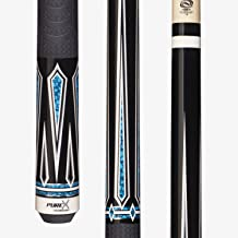 Purex HXT62 Midnight Black with Graphic Turquoise/White Drop Diamonds Technology Pool Cue with Mz Multi-Zone Grip