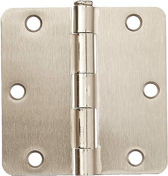 Cosmas Satin Nickel Door Hinge 3.5 Inch x 3.5 Inch with 1//4 Inch Radius Corners