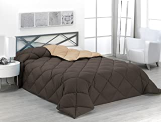 Sabanalia - Edredón nórdico de 400 g , bicolor, cama de 150 cm, color arena y chocolate