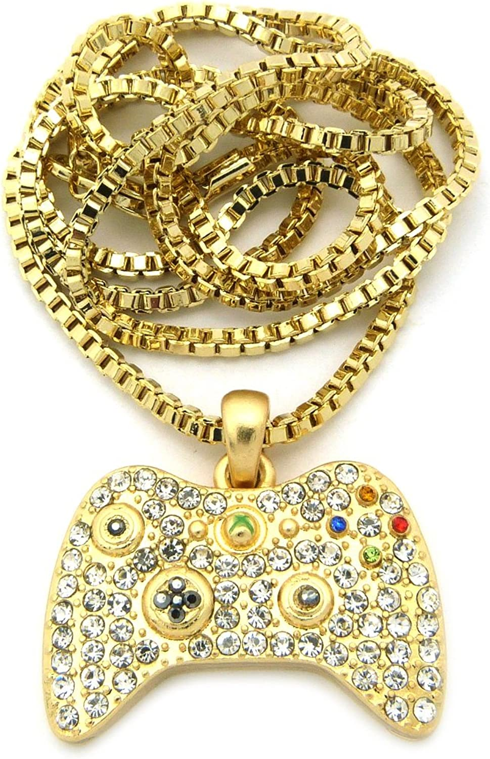 Crescendo SJ INC New Iced Out Game Controller Pendant &2mm/24 Box Chain Hip Hop Necklace XMP24BXG