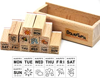 Youkwer 12 Pcs Mini Cute Wooden Rubber Stamps DIY Diary Scrapbook Stamps Set with Wooden Box (Week,Weather)