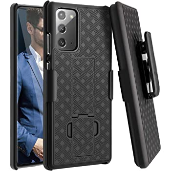Fingic Galaxy Note 20 Case, Samsung Note 20 Combo Shell Holster Case Slim Fit Shell with Swivel Belt Clip Holster Bulit-in Kickstand Protective Cover Case for Samsung Galaxy Note 20 6.7 inch - Black