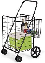 Goplus Folding Shopping Cart Jumbo Double Basket Perfect for Grocery Laundry Book Luggage..