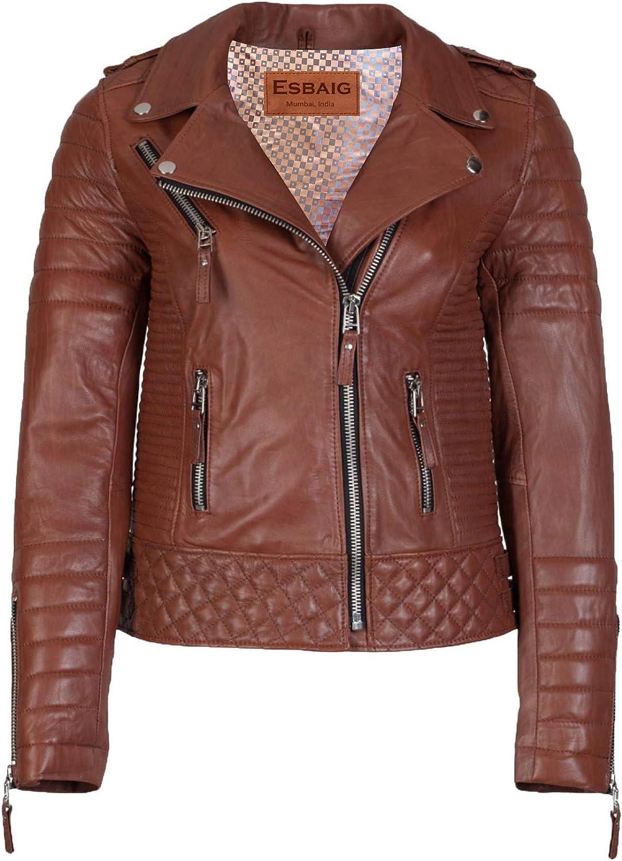 Esbaig Women Leather Jacket Quilted Stitch Motorcyle Biker Jacket Tan