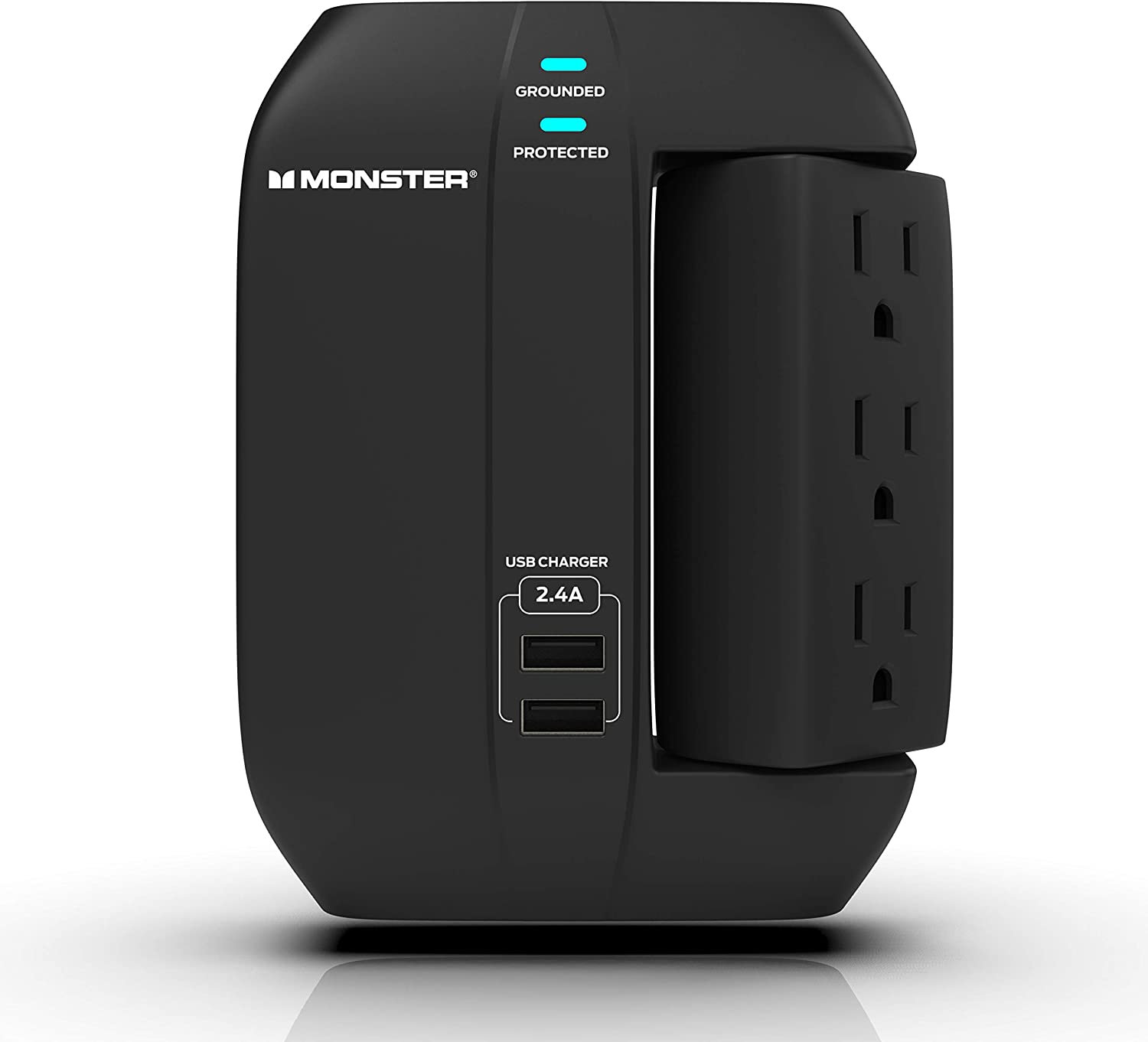 Monster Swivel Socket Wall Tap Surge Protector - Power Surge Protector with Wall Mount - Heavy Duty Protection with up to 6 AC and 2 USB Ports, Black, 6-Outlet with Swivel and 2 USB Ports