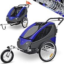 KESSER Cruiser Kinderanhänger Fahrradanhänger 360° Drehbar mit Federung 2in1 Joggerfunktion Kinderfahrradanhänger  5-Punkt Sicherheitsgurt, Jogger fahrrad Anhänger für 1 bis 2 Kinder max. 40kg Blau