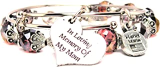 ChubbyChicoCharms in Loving Memory of My Mom Rose Pink Crystal Bracelet with Adjustable Wire Bangle Set, 2.5