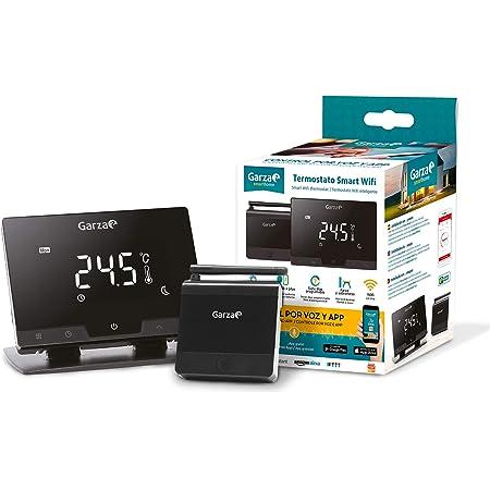 Garza 401267 Smarthome Termostato Smart Wifi Inteligente para Caldera y Cafación, Táctil y Programab, Control Por Voz y App, Axa, Ios, Goog, Android, Negro, Talla Única