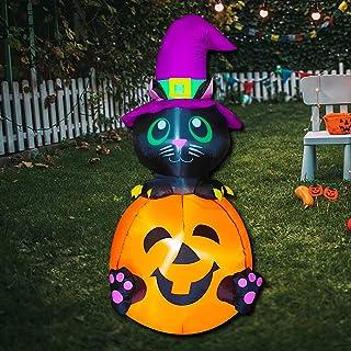 Poptrend Halloween Inflatable Decorations,4 Ft Halloween Inflatable Black cat & Pumpkin Inflatable Outdoor Halloween Yard ...