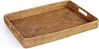 HandyMake Rattan Tray With Handles - Hand Woven Multipurpose Wicker Tray Made With Durable Rattan Fibre (Rectangular 17.5 X 13 Inches, Natural)
