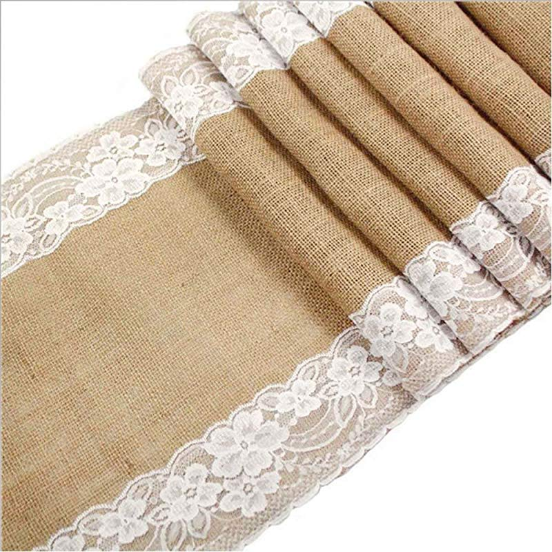 Awtlife 12 X 120 Inch Burlap Table Runner For Wedding Bridal Shower Baby Shower Party Decor Thanksgiving Christmas Engagement 120 X12