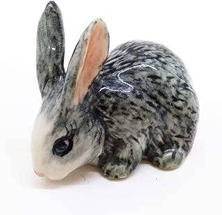 ChangThai Design Dollhouse Miniatures Ceramic Grey Rabbit 1 FIGURINE Animals Decor
